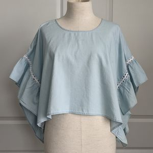 BCBGeneration Crop Ruffle Sleeve Chambray L NWT